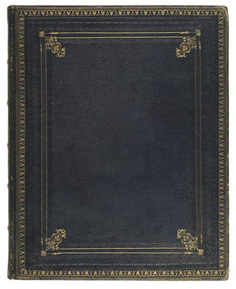 The binding of one of the volumes recently bought by the Library / Rhwymiad un o'r cyfrolau a brynwyd gan y Llyfrgell yn ddiweddar.