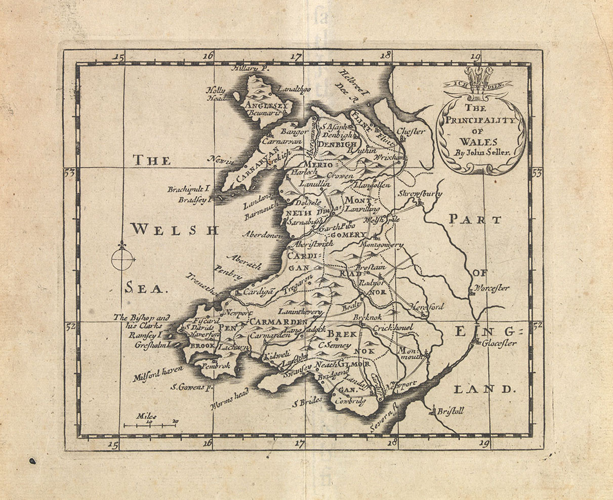 1702 Map of Wales
