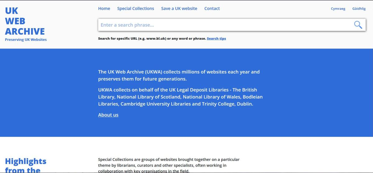 The beta site of the UK Web Archive