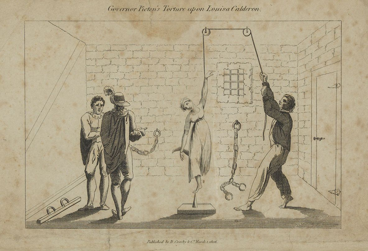 Illustration of Louisa Calderon's torture from 'The Trial of Governor T. Picton for Inflicting the Torture on Louisa Calderon...,' (London, 1806)