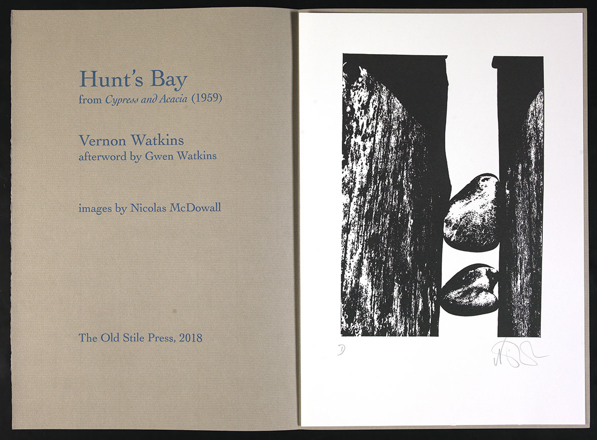 Tudalen deitl Hunt's Bay gyda delwedd gan Nicolas McDowall / Title page of Hunt's Bay with illustration by Nicolas McDowall