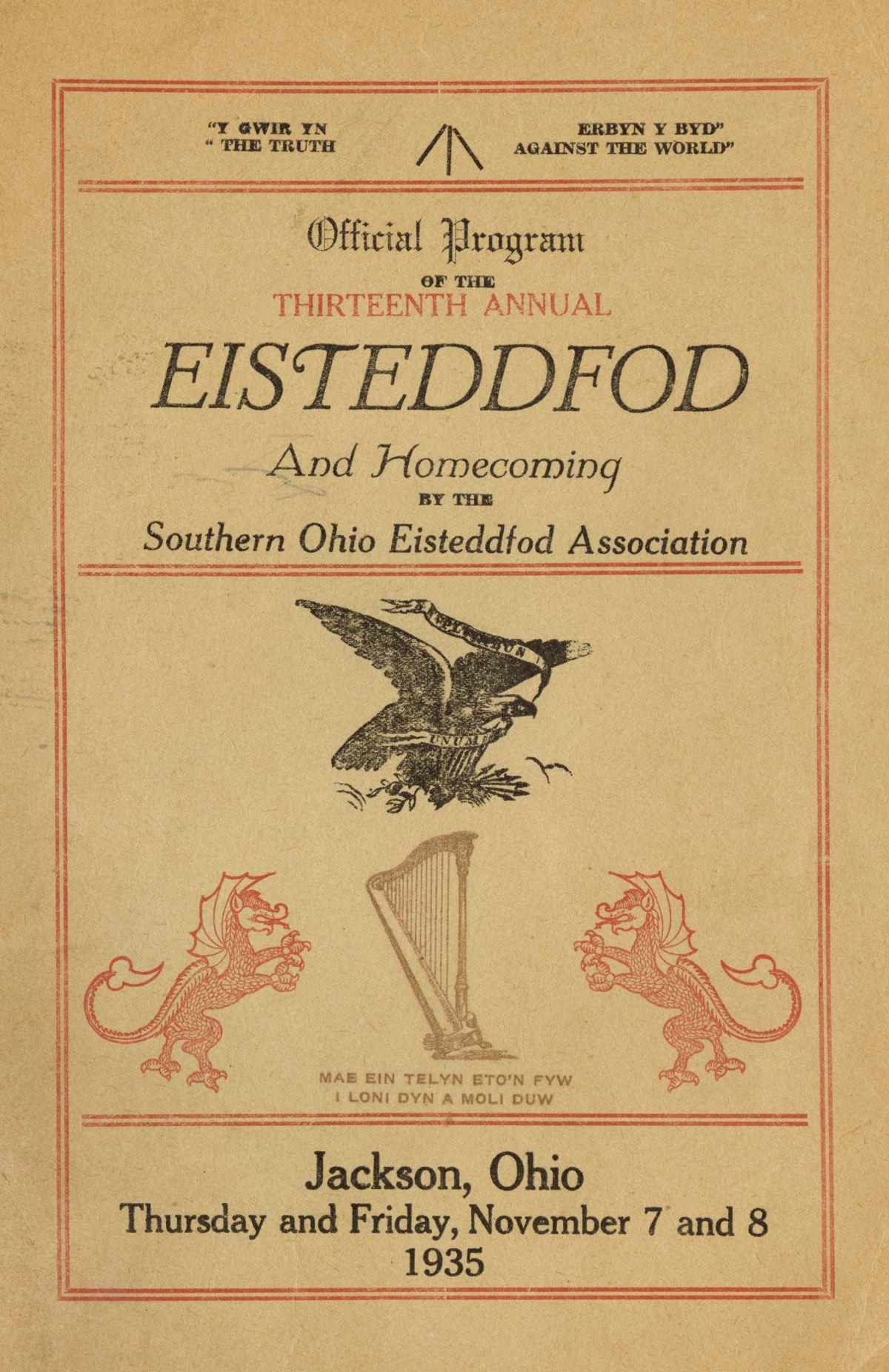 Rhaglen Eisteddfod (1935) / Eisteddfod Program (1935)