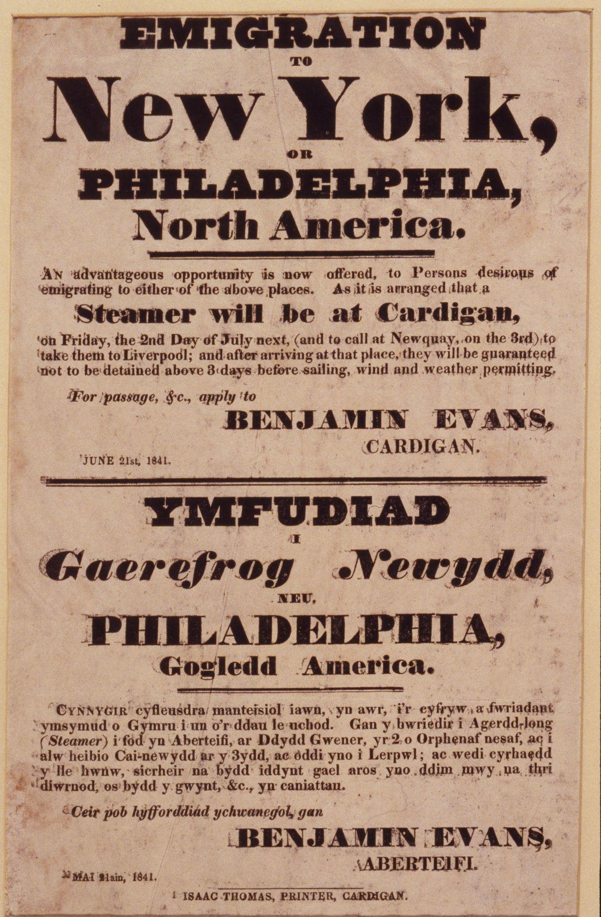 Poster ymfudo (1841) / Emigration Poster (1841)