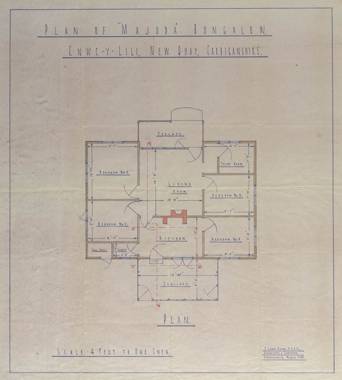 An architectural drawing of Dylan Thomas's Majoda bungalow. It was produced in March 1945 and was recently purchased by the Library.