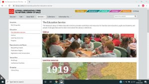 Education page on the National Library of Wales' website